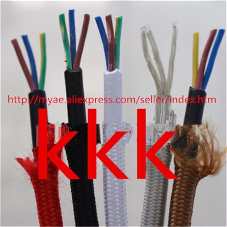 10m20m lot textile cable 3 core fabric wire 3*0.75mm cable retro textile woven mesh textile cable 3*0.75 woven textile design