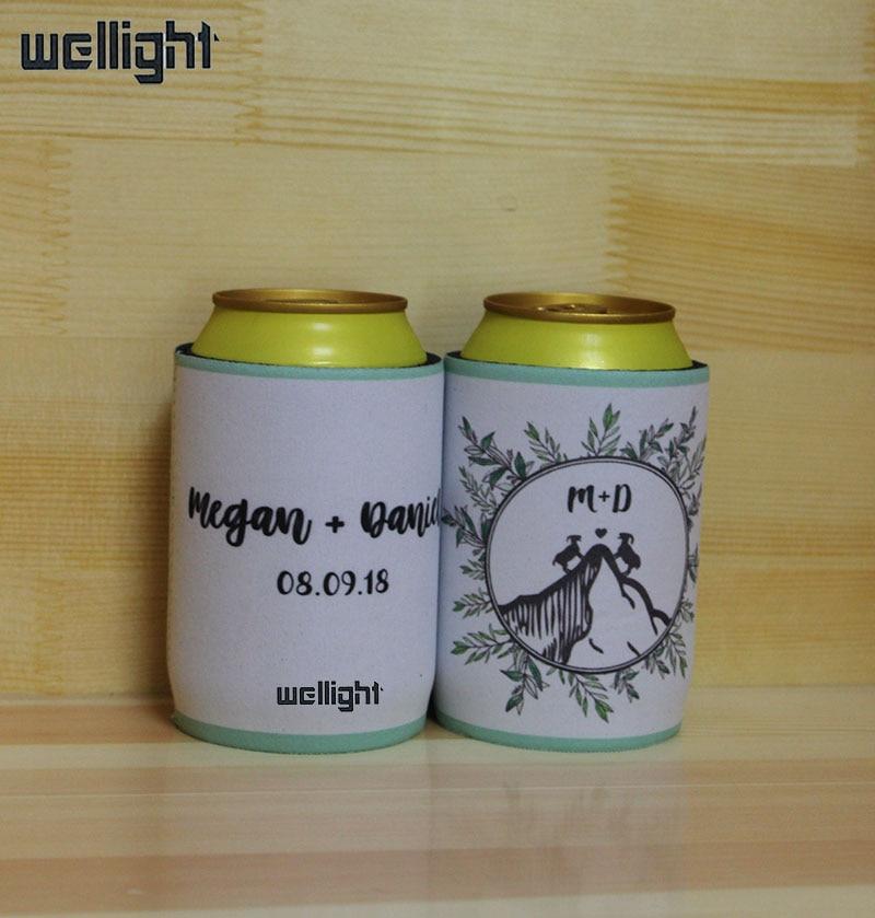 100 Stks Wit Neopreen Stompe Houders Custom Logo Afdrukken Bier Koeler Zakken Geïsoleerde Bierfles Sleeve Cover Voor Huwelijksgeschenken