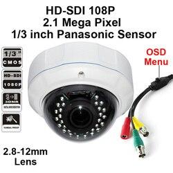 2.1 Mega w całości z HD 1080 P HD-SDI IR CCTV nadzoru akty wandalizmu kamera kopułkowa z 2.8-12mm obiektyw