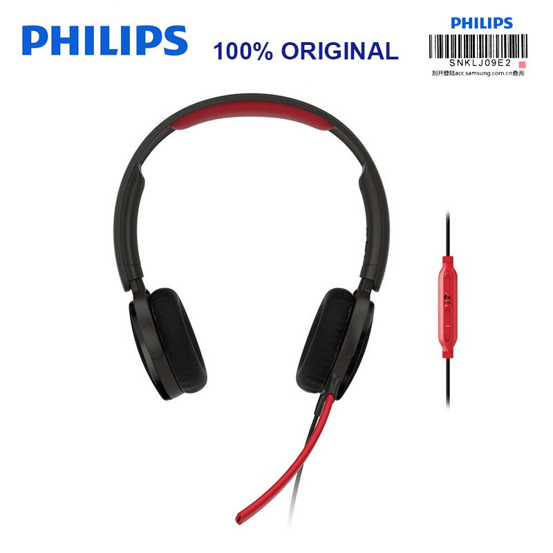Philips SHG7210 game Headphones with Microphone 2 Meters Long Line Wire Control Headphone for Xiaomi MP3 Player Official Test цена