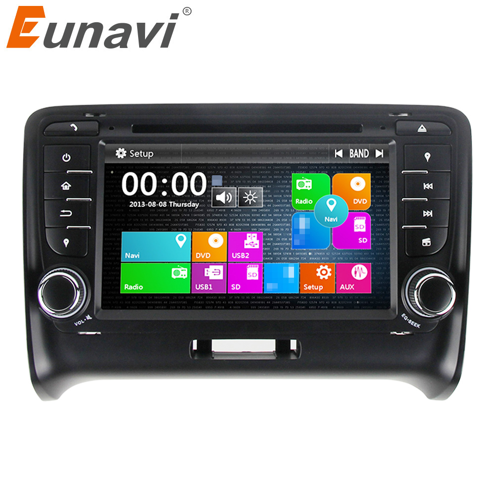 Eunavi 2 Din 7'' Car DVD Player GPS Navigation For Audi TT 2006-2014 Stereo Video with steer wheel control touch screen USB MIC