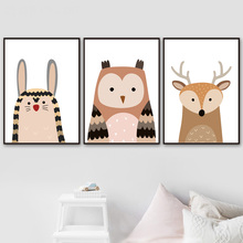Cartoon Deer Rabbit Owl Canvas Painting Wall Art Canvas Posters And Prints Nordic Poster Animals Wall Pictures Kids Room Decor цена