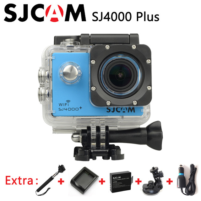 Original SJCAM SJ4000 Plus WiFi 2K Gyro Action Camera Waterproof sj Cam +Extra 1pcs battery+Charger+Car Charger+Holder+Monopod