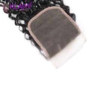 Image 3 - Klaiyi Hair Malaysia Curly Hair Bundles with Closure 4PCS Swiss Lace Closure With 3 Bundles Remy Human Hair Dark Black