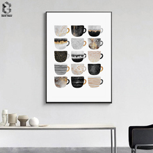 Nordic Wall Decor Posters and Prints Marble Texture Cups Canvas Painting Pictures Scandinavian Art for Living Room
