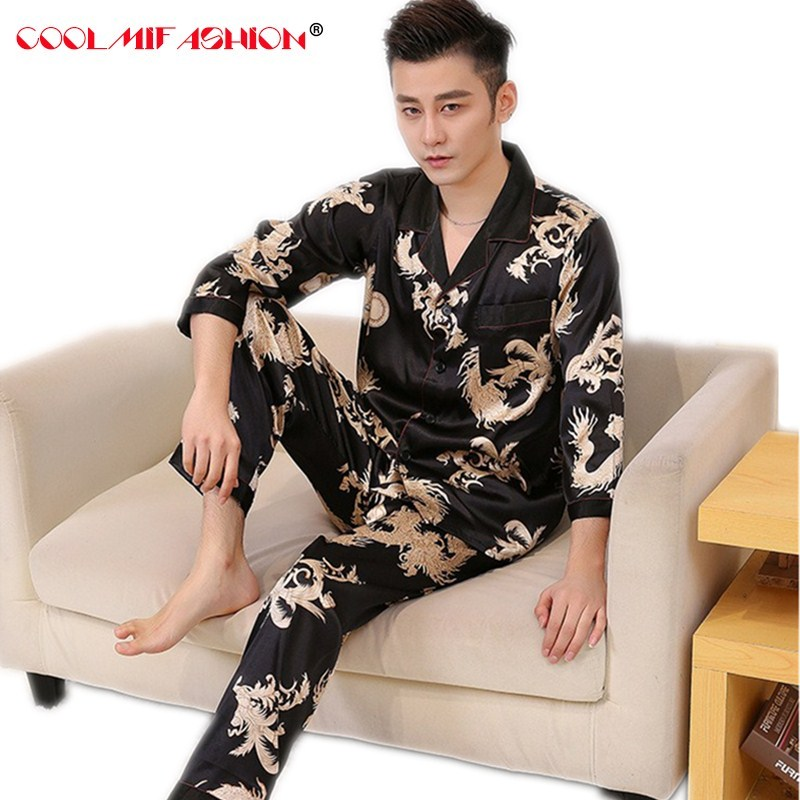 Pajamas Sleepwear-Set Silk Long-Sleeve Sexy Male Mens For Homme Shirts Hombre Top