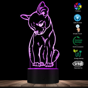 Image 1 - 귀여운 작은 개 치와와 품종 초상화 3D 착시 야간 조명 색상 변경 동물 애완 동물 강아지 침실 테이블 램프