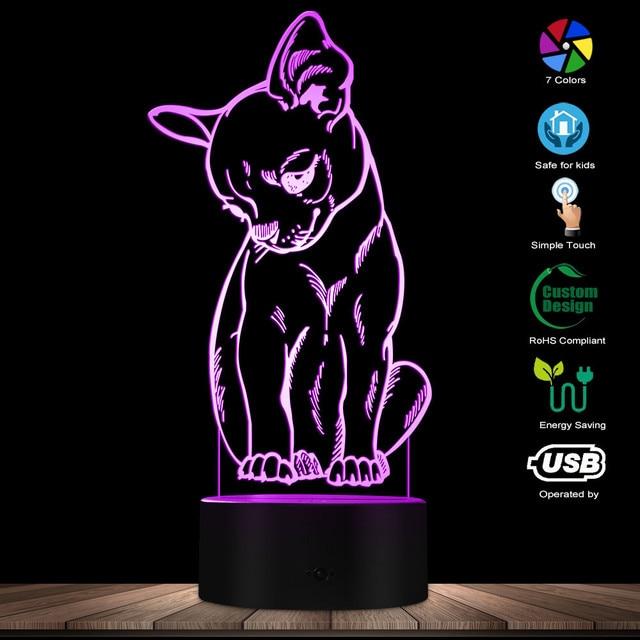 귀여운 작은 개 치와와 품종 초상화 3D 착시 야간 조명 색상 변경 동물 애완 동물 강아지 침실 테이블 램프