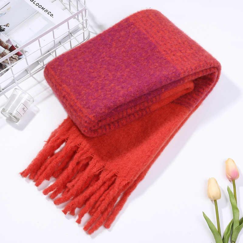 Bufanda de lana trenzada rugosa de marca de lujo de diseño de cachemir bufanda de invierno bufandas cálidas de mujer chal para damas borlas Kerchief
