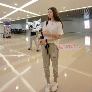 Image 2 - Pantalones Harlan de talla grande para mujer, pantalón informal de lentejuelas elásticas, aumento de tamaño de 200 libras, para primavera y otoño, MZ1104