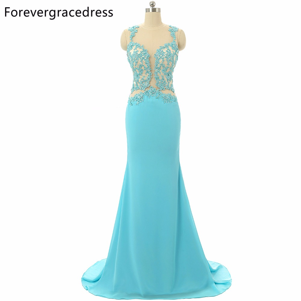 Forevergracedress <font><b>2018</b></font> <font><b>Sexy</b></font> Mint <font><b>Prom</b></font> <font><b>Dress</b></font> Sheer Top Neck Backless Sleeveless Applique <font><b>Long</b></font> Formal Party Gown Plus Size image