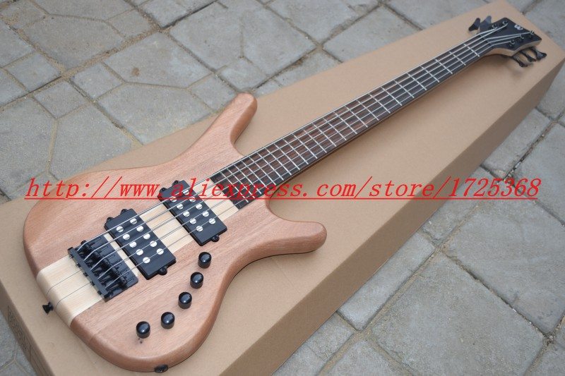 цены  Wholesale natural wood color Bass Guitar 5 Strings  Electric Bass Promotion Free shipping One neck (No Scarf) HOT