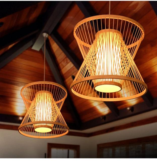 Bambou Cage À Oiseaux En Osier Rotin Pendentif Luminaire Rustique ...