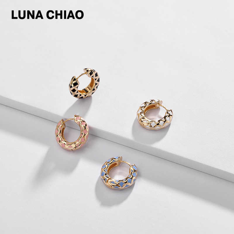 LUNA CHIAO Bijoux Accessories Jewelry Wholesale Enameled Cooper Hoop Earring Mini Ear Cuff for Women