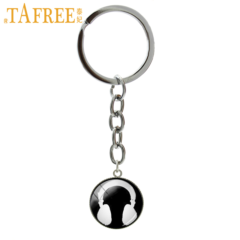 TAFREE Retro Headphone key chains ring vintage popular Music DJ Hiphop Rap art keychain music fans lovers keyring jewelry B1219