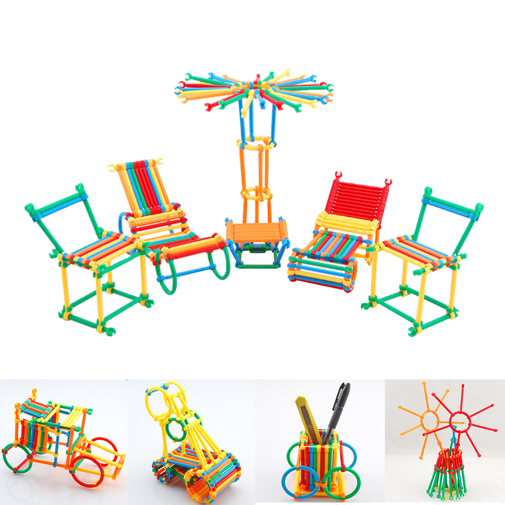 450pcs Kids Assembled DIY Toys Smart Stick Plastic Building Blocks Toy Baby Educational Assemby Model Building Kits Toy Gift