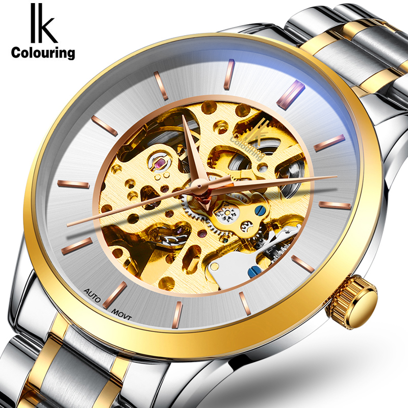 IK Colouring Men Dress Watch Automatic Self-Wind Mechanical Skeleton Business Male Clock with Stainless Steel or Leather BandIK Colouring Men Dress Watch Automatic Self-Wind Mechanical Skeleton Business Male Clock with Stainless Steel or Leather Band