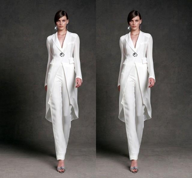 Plus Size Mãe da Noiva Pant Ternos com jaqueta de Cristal Branco Vestidos de Festa de Manga Longa Elegante Vestido De Noiva Mãe