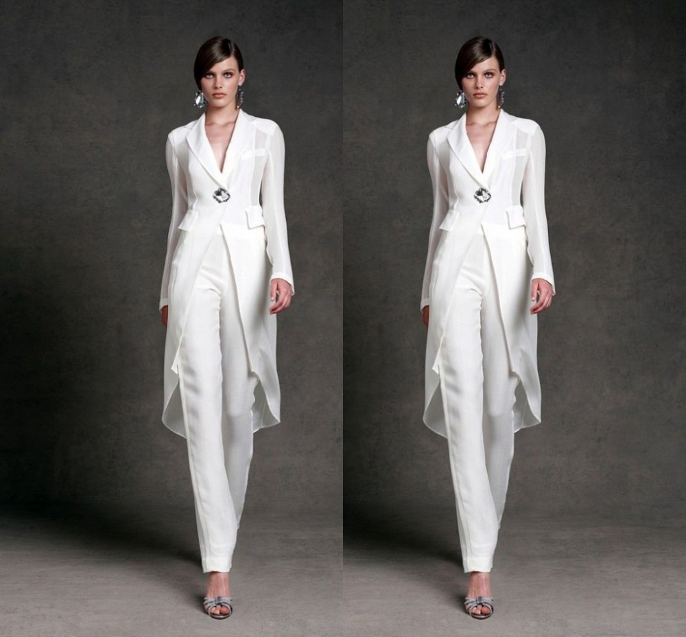 plus size mother of the bride pant suits with jacket white