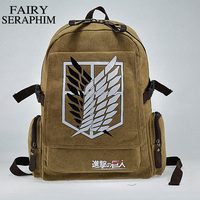 Hot Selling Canvas Cartoon Investigation Corps Dollar Price Teenagers Attack On Titan Side Zip Pocket Mochila