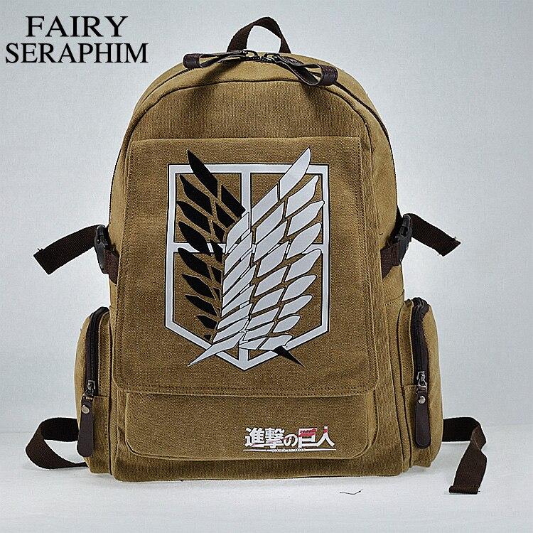 Fairy Seraphim Canvas Investigation Corps Anime Teenagers Side Zipper Pocket Student Mochila School Bag Attack On Titan Backpack