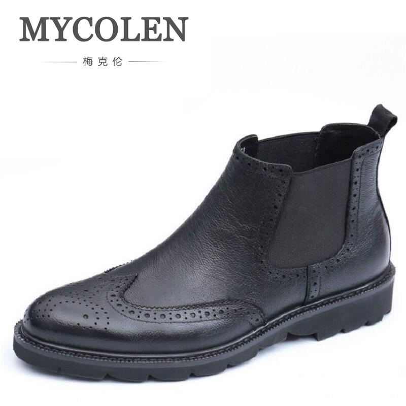 MYCOLEN Men Winter Boots Luxury High Quality Cow Leather Casual Shoes Men Bullock Carving Chelsea Boots Bota Masculino