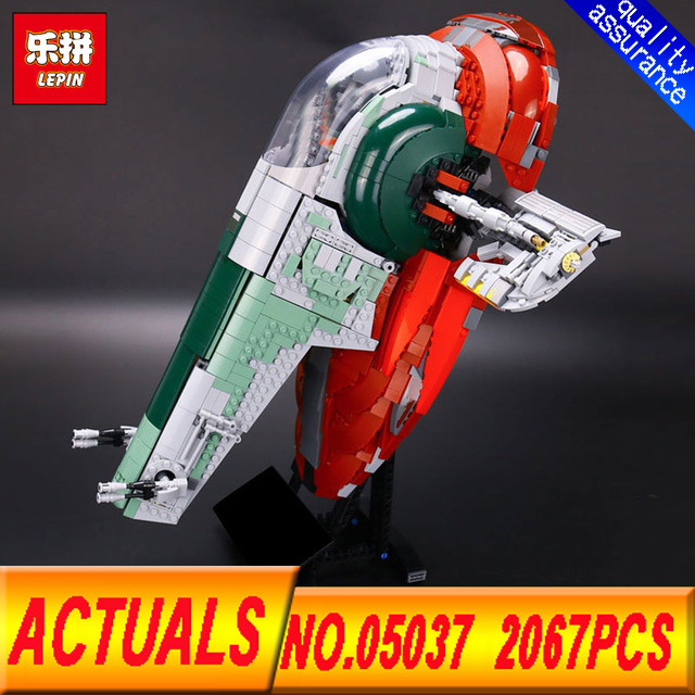 lepin 05037 Star 2067pcs Series Wars UCS Slave I Slave NO.1 Model Building Block Bricks  Compatible 75060 Toys Kits Gifts lepin 05037 star wars ucs slave i slave no 1 model 2067pcs minifigure building block toys 100