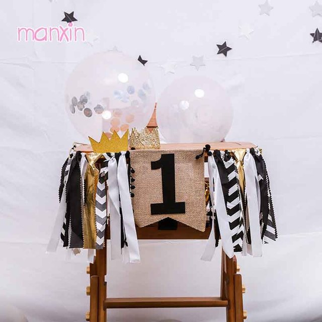 Black Gold One Banner First 1st Birthday Boy Girl Decorations Garland 2nd Baby Highchair Tulle