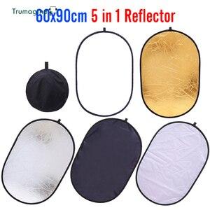 Image 1 - 60x90cm 24x35 5 in 1 çok kamera reflektör fotoğrafçılık reflektör stüdyo fotoğraf Oval katlanabilir siyah ışık reflektörü tutamak