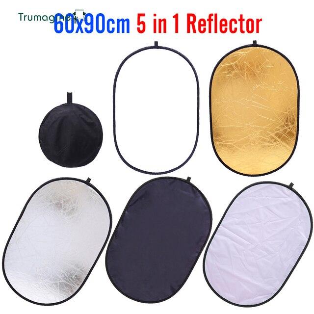 60x90cm 24x35 5 in 1 çok kamera reflektör fotoğrafçılık reflektör stüdyo fotoğraf Oval katlanabilir siyah ışık reflektörü tutamak