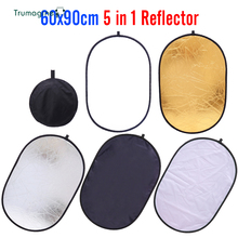 60x90cm 24x35 5 in 1Multi Camera Reflector Photography Reflector Studio Photo Oval Collapsible Black Light Reflector Handhold
