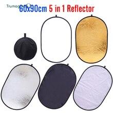 Reflector de cámara múltiple 5 en 1, 60x90cm, 24x35 pulgadas, Reflector de fotografía para estudio, foto ovalada, Reflector de luz negra plegable, Handhold