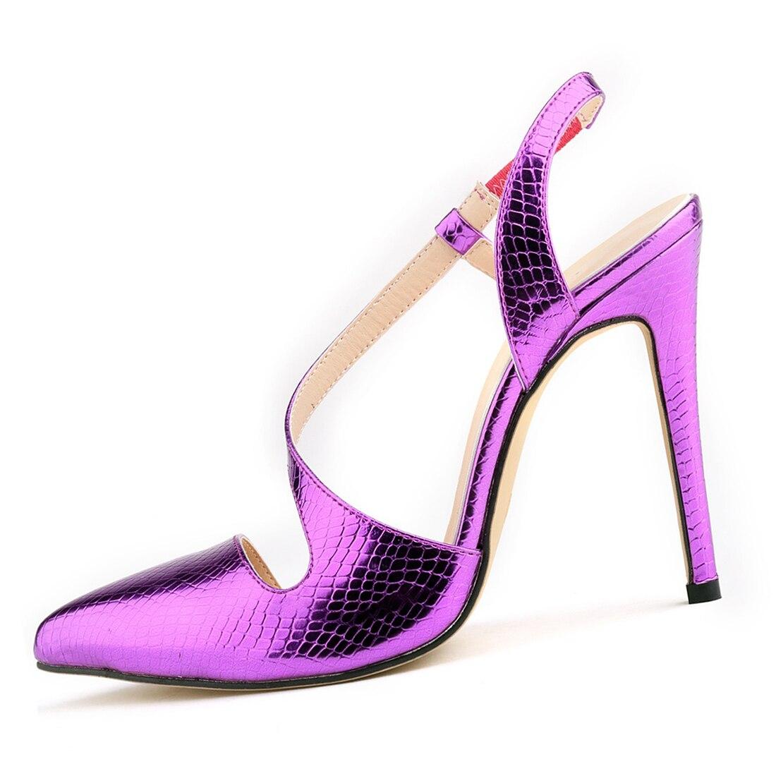 Для женщин крокодиловой кожи насосы лето-весна острый носок и высокий каблук пикантные кожаные туфли Женские Босоножки Туфли-лодочки