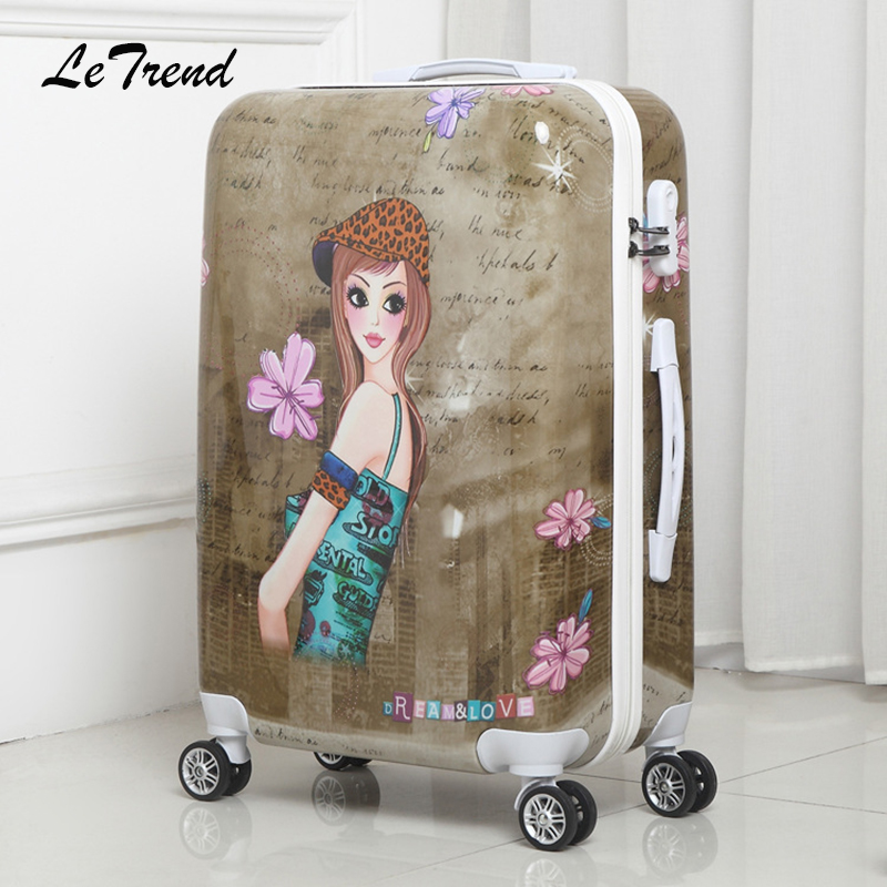 Letrend Students Rolling Luggage 20 Inch Spinner Suitcase Wheels Korean Women Password Travel