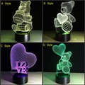 Creative USB lamp night 3D LED Lamp 7 color Changeable Decor Winnie Terry bear LightsTable Lamp Night light Novelty Child Gift