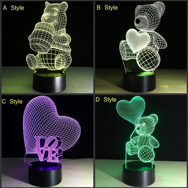 USB criativo luz da noite da lâmpada 3D CONDUZIU A Lâmpada 7 cores Mutáveis decoração Winnie urso Terry LightsTable Lâmpada Novidade luz Da Noite Criança presente