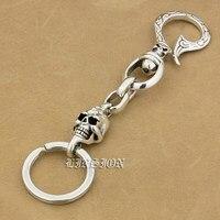 925 Sterling Silver Skull Hook Mens Biker Rocker Punk Keychain Belt Clip 9T011