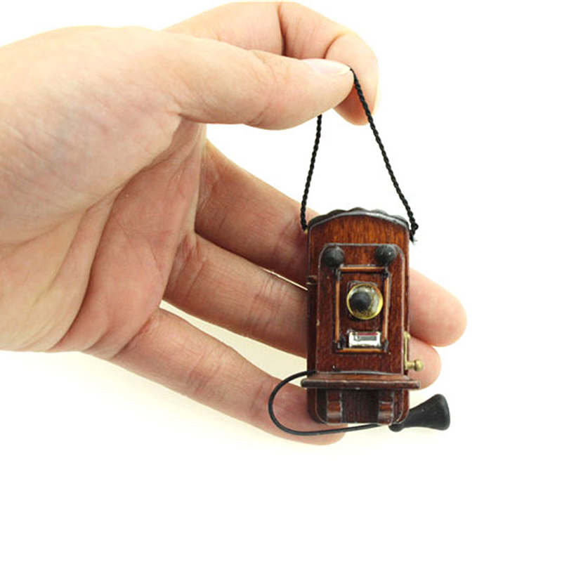 Vintage Style 1:12 <font><b>Miniature</b></font> Antique Wall Mount Phone Dollhouse Furniture Accessories For Livingroom Bedroom Kitchen image