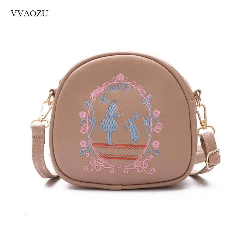Alice In Wonderland Embroidery Shoulder Bags Lolita Handbag Anime Cosplay PU Leather Messenger Bag for Women Totes Purse fluffy synthetic lolita curly flax mixed gold long side bang capless cosplay wig for women