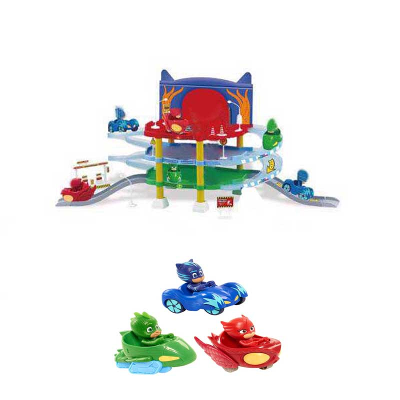 Les Enfants PJ Cartoon Racing Track&Car Anime Figure Model Toy 3 Floor Parking Spot Brinquedos Children Birthday Mask Gift pj cartoon pj masks command center car parking toy lot car characters catboy owlette gekko masked figure toys kids party gift