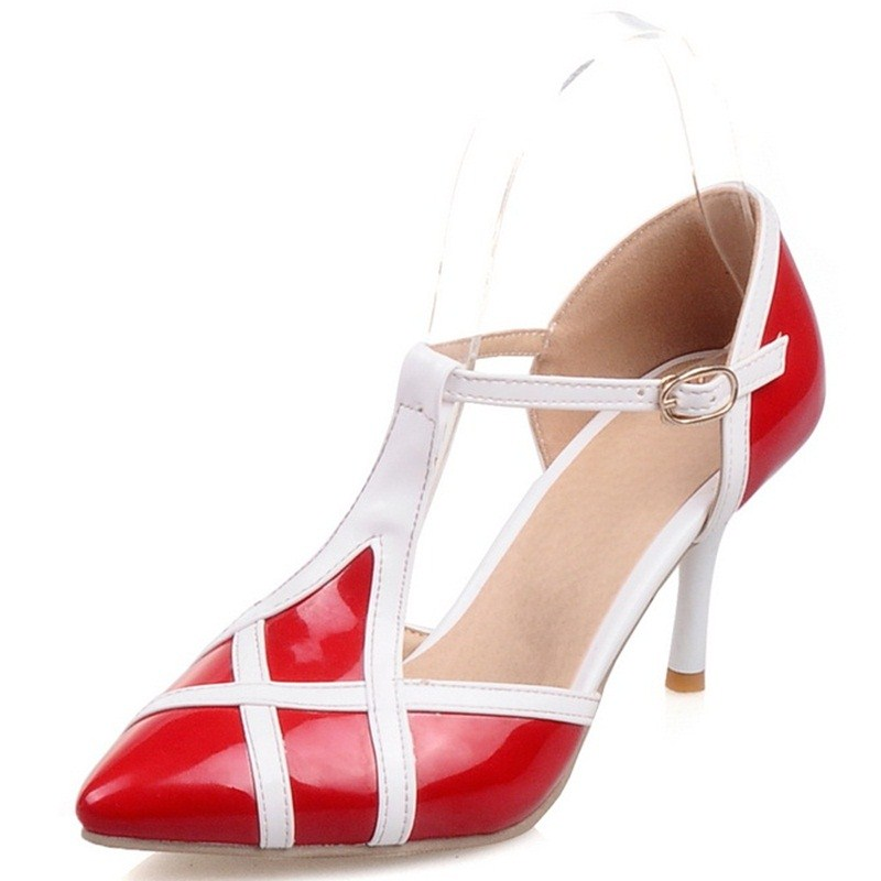 ФОТО black pink white apricot red T-Strap Pumps Shoes Women High Heels Ladies Shoes Patent Leather Sexy High Heels Shoes Women