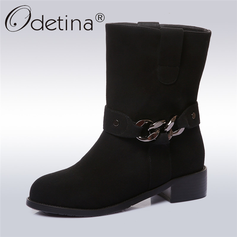 Odetina 2018 New Fashion Woman Ankle Boots Metal Decoration Slip On Booties For Ladies Round Toe Square Low Heels Big Size 34-43 beango fashion metal toe rivets women boots lace up round toe low heel motorcycle booties casual shoes woman big size 34 43eu