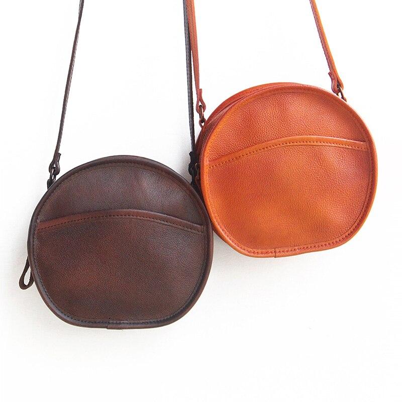 YeeSupSei mode femmes Mini sac rond en cuir véritable circulaire bandoulière sac à bandoulière Messenger dame décontracté couleur unie Bolsa - 5