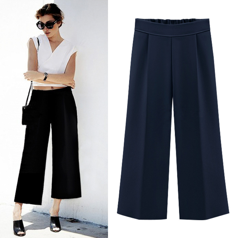 2018   wide     leg     pants   women loose hight waist plus size 6XL ankle length trousers female culottes for office wear ladies   pants
