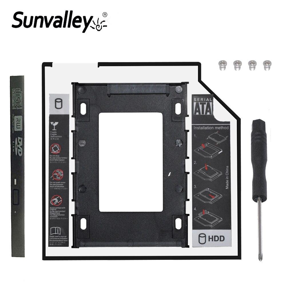 """Sunvalley nuevo 12,7mm Universal 2nd HDD Caddy 2,5 """"Cubierta para SSD y HDD SATA 3,0 para el ordenador portátil del cuaderno"""