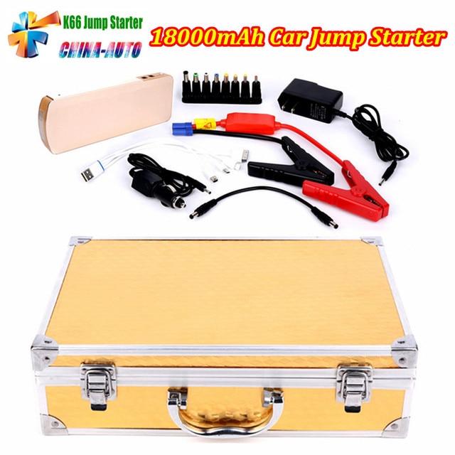 2016 Hot Selling K66 High Capacity Car Jump Starter Mini Power Bank 18000mah Car Jump Starter Emergency Kit Gold Free Shipping