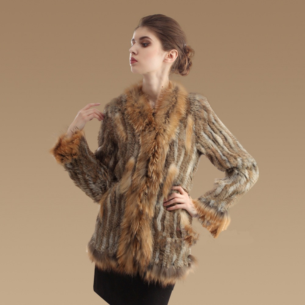 Aliexpress.com : Buy Women Genuine Rabbit Fur Coat Full Flare ...