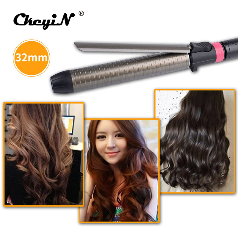 32mm Ceramic Curling Iron Wand Hair Curler Digital Waver temperature adjustment Salon Hair Styling Tool 360 Degree Rotating clip gustala electric hair curler ceramic titanium adjustable temperature splint waver curling irons corrugated styling tool