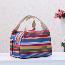 Fashion streak canvas bag cold insulation zipper picnic nice lunch 15*17*22cm