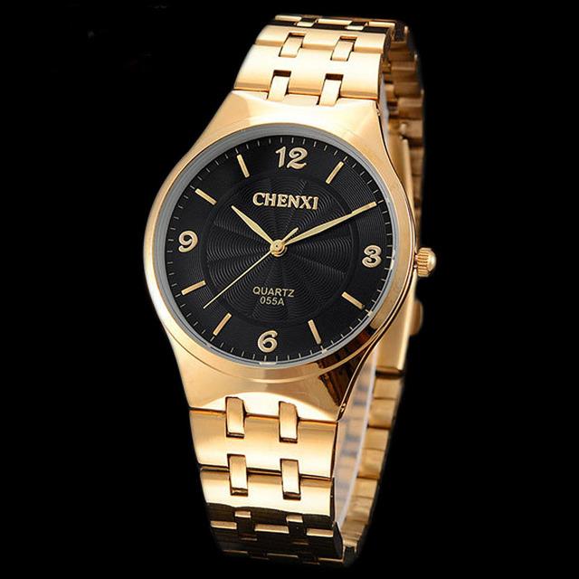 Marca homem mulher relógio chenxi 2016 do amante ocasional de negócios de aço inoxidável relógio de pulso de luxo relógio de ouro casual casal retro relógio